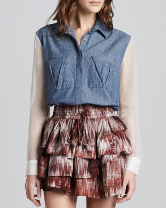 Tucker Sheer-Panel Chambray Shirt
