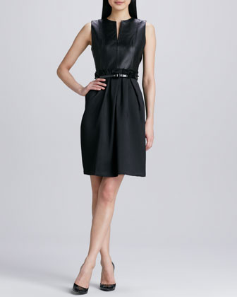 Slit-Front Leather Dress