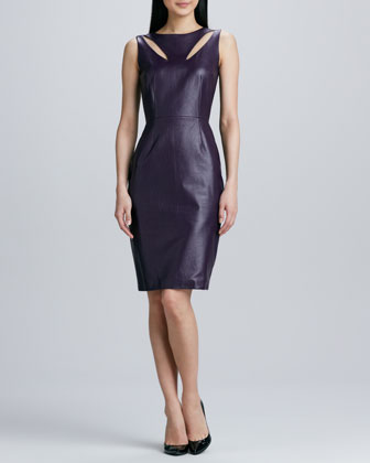 Teardrop Cutout Leather Dress
