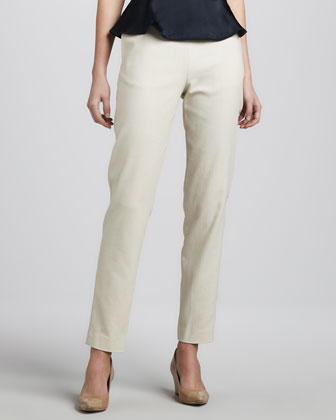 Textured Cotton Ankle Pants