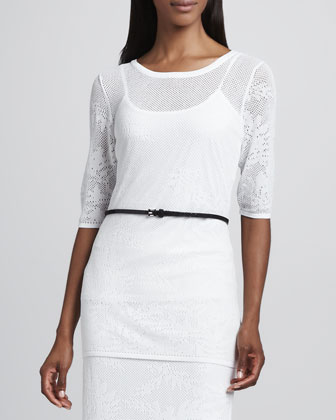 Sheer Lace Blouse, White
