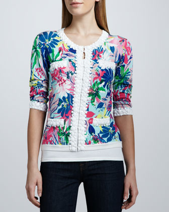 Tropical Floral-Print Bead-Trim Cardigan, Petite