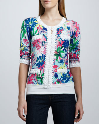 Tropical Floral-Print Bead-Trim Cardigan, Women's
