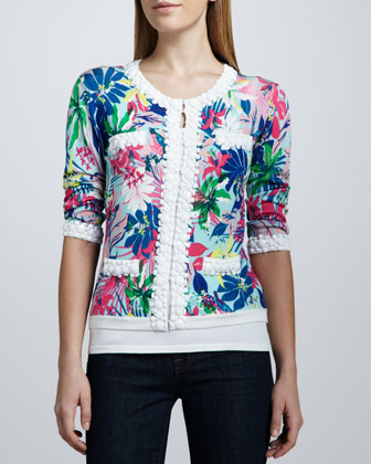 Tropical Floral-Print Bead-Trim Cardigan