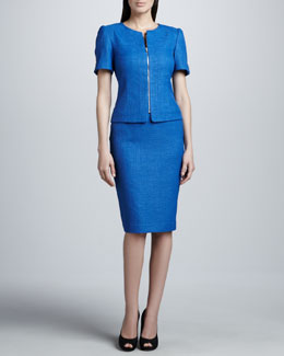 Tahari Short-Sleeve Skirt Suit