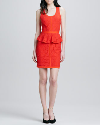 Colorblock Lace Peplum Dress