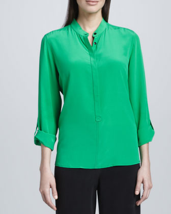 Silk Popover Tab-Sleeve Blouse, Women's