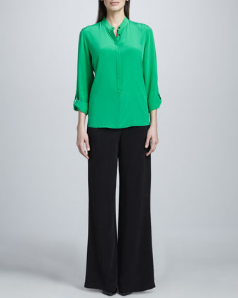 Silk Popover Tab-Sleeve Blouse & Full-Leg Pants, Women's