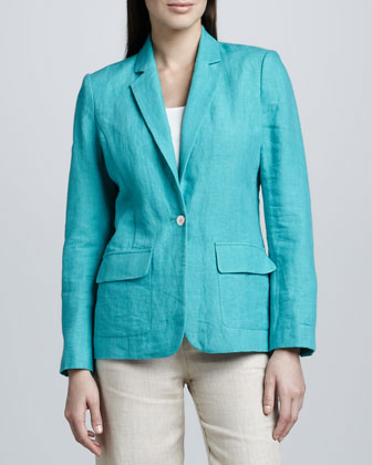 Two-Pocket Linen Blazer