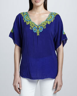 Johnny Was Collection Turner V-Neck Embroidered Blouse