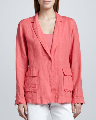 Handkerchief Linen Notch-Collar Jacket, Organic Cotton Tank & Slim Ankle Pants