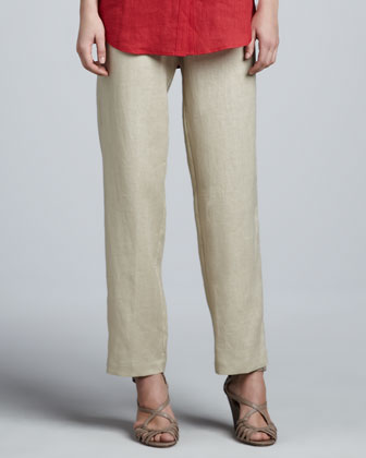 Unlined Linen Straight-Leg Pants