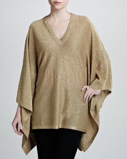 Michael Kors Metallic V-Neck Poncho