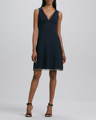 Hayden V-Neck Chiffon-Trim Dress