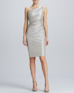David Meister One-Shoulder Beaded-Waist Cocktail Dress