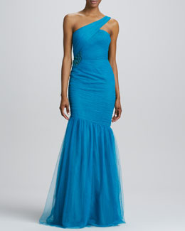 ML Monique Lhuillier One-Shoulder Trumpet Gown