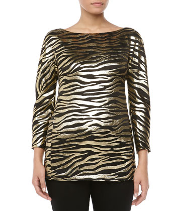 Metallic Zebra Brocade Tunic