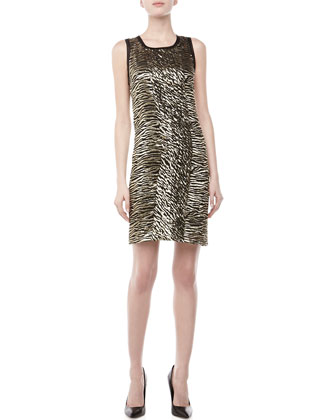 Zebra-Print Shimmery Dress