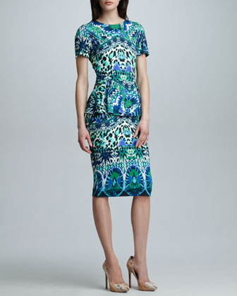 Printed Satin Peplum Sheath Dress, Blue