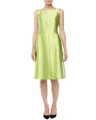Bateau-Neck Pleated Shantung Dress, Lime