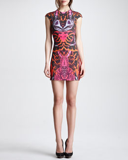 McQ Alexander McQueen Kaleidoscope-Print Cap-Sleeve Sheath Dress, Terracotta/Pink