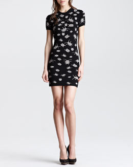 McQ Alexander McQueen Beetle Bug Intarsia Knit Dress, Black/Rose