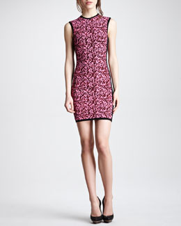 McQ Alexander McQueen Sleeveless Popcorn Knit Dress, Shocking Pink/Black