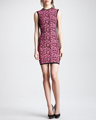 Sleeveless Popcorn Knit Dress, Shocking Pink/Black