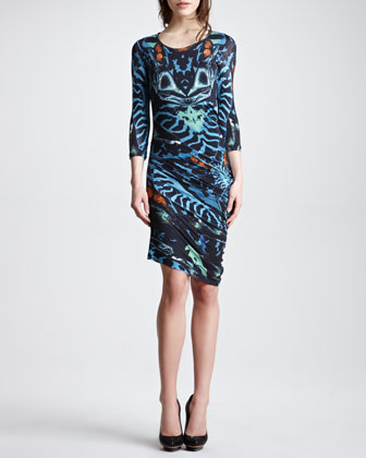 Three-Quarter-Sleeve Print Jersey Dress, Teal/Multicolor