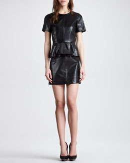 McQ Alexander McQueen Peplum Leather Dress, Black