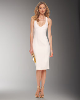 Michael Kors Crepe Crossback Sheath Dress, White
