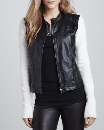 Bicolor Knit-Back Moto Jacket