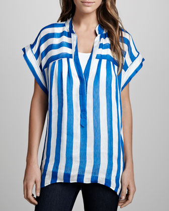 Skydiver Striped Voile Top