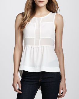 Patterson J. Kincaid Jet Stream Sheer Peplum Top