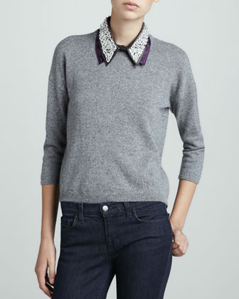Cashmere Beaded-Collar Sweater