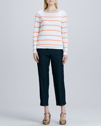 Skinny Striped Boxy Top & Slim Denim Ankle Pants