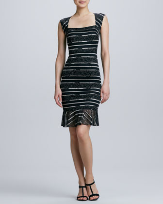 Square-Neck Lace Cocktail Dress