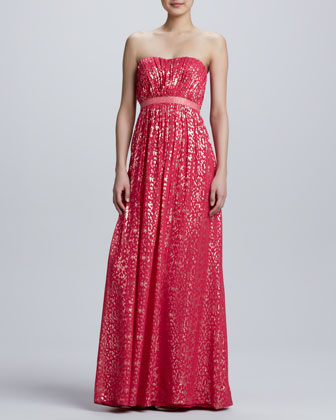 Strapless Metallic Jacquard Gown