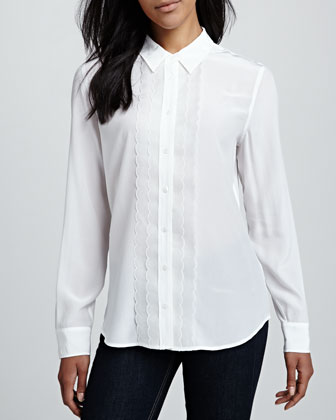 Brett Long-Sleeve Scallop Blouse, Bright White