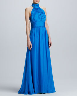 Badgley Mischka Silk Gathered Halter Gown