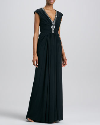 Beaded V Neck Gown