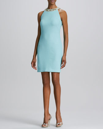 Beaded-Neck Cocktail Dress