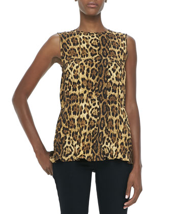 Pleated Leopard-Print Shell