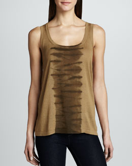 MICHAEL KORS Colorblock Cotton-Linen Tank