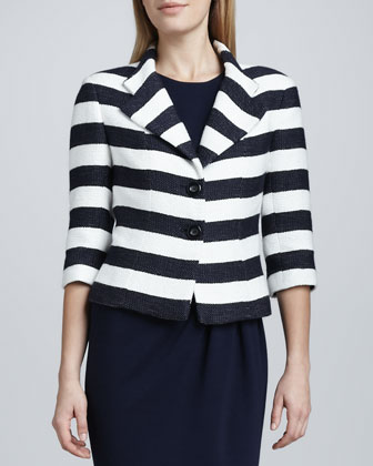 Striped Notch Collar Jacket
