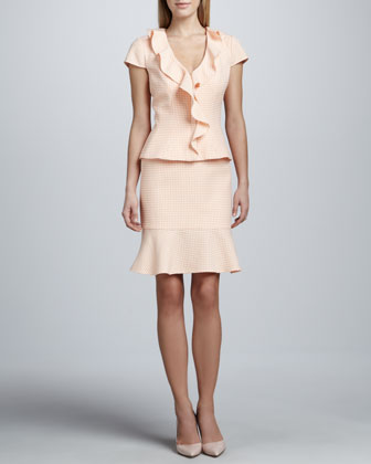 Cascade-Front Skirt Suit