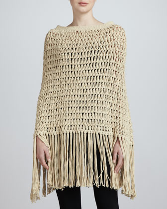 Loose-Knit Crocheted Poncho