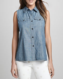 MARC by Marc Jacobs Corey Sleeveless Chambray Shirt