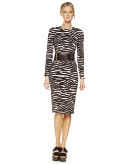 Michael Kors  Zebra-Print Long-Sleeve Sheath Dress
