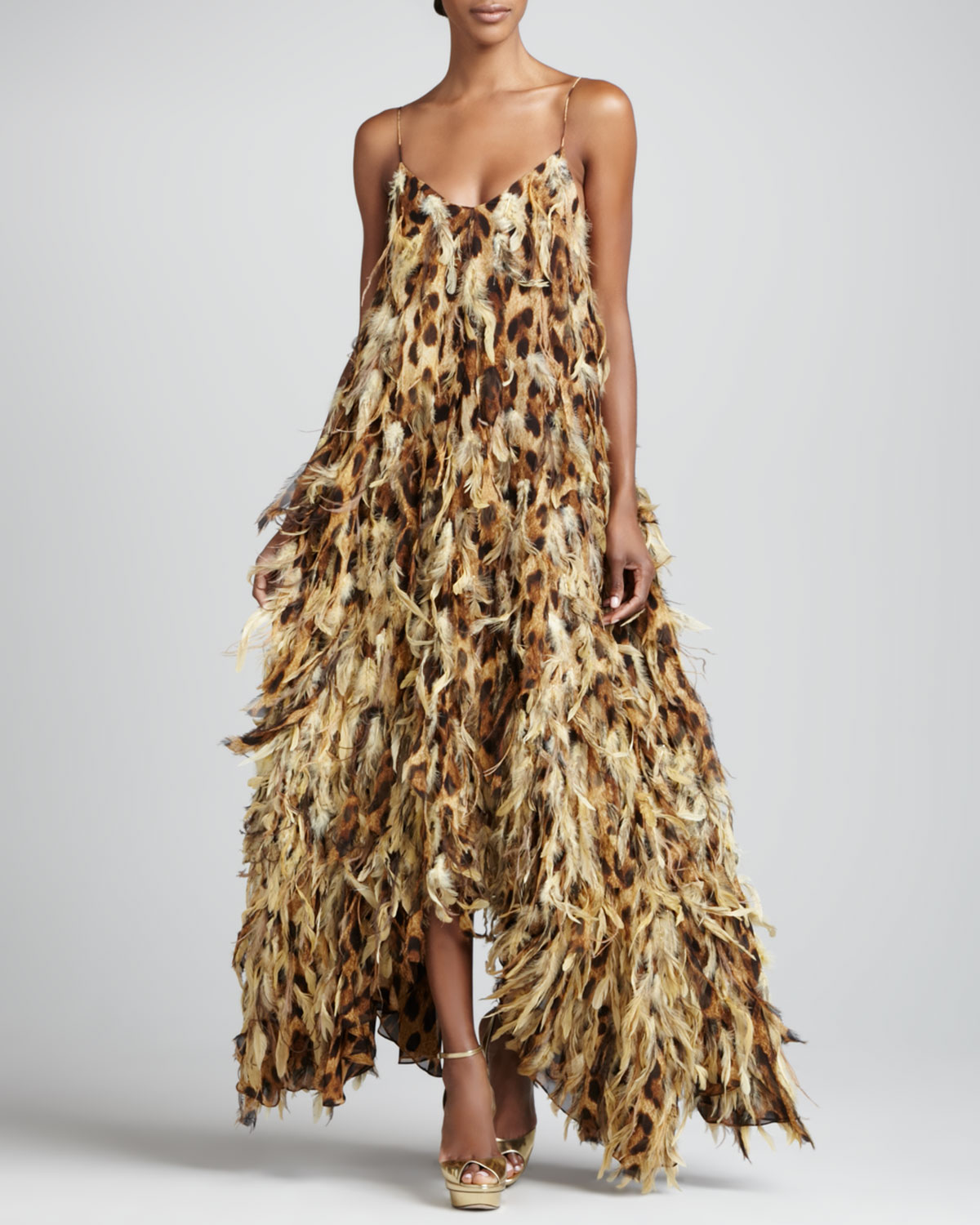 Leopard Print Chiffon Feathered Gown   Michael Kors